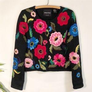 Michael Simon Embroidered Flower Cardigan